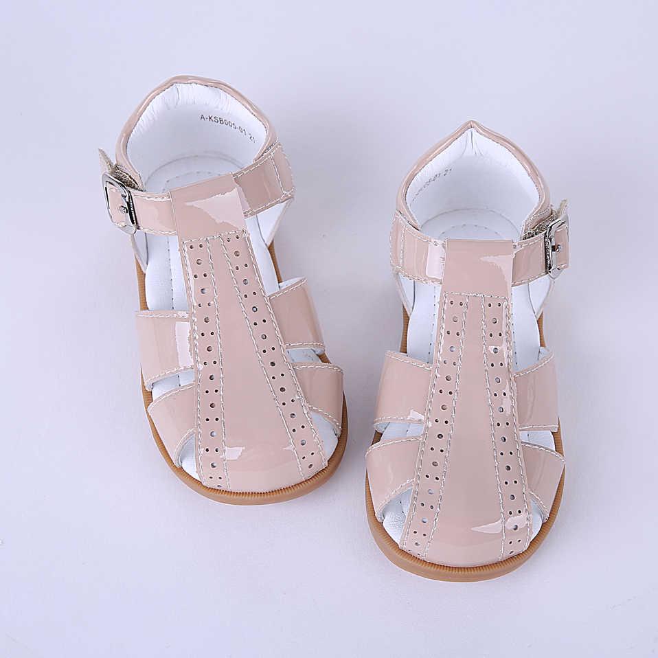 "Pettigirl קיץ חדש עיצוב ילדה נעלי ארבעה צבעים חצו פסים עור פעוט סנדלי רך ילדי נעלי גודל ארה""ב A-KSB005-01"