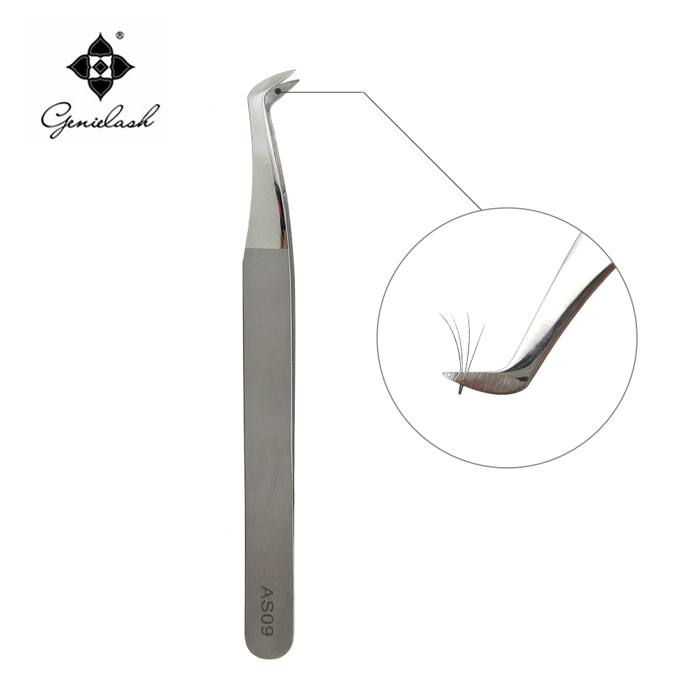 купить Genielash eyelash extension eyelash tweezers for eyelash extension tweezers stainless steel eyelash volume lashes tweezers AS09 в интернет-магазине