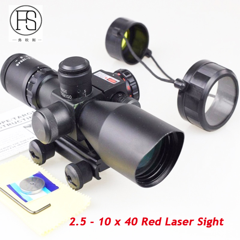 Tactical Riflescope 2.5 - 10 x 40 Red Laser Sight Scope Outdoor Shooting Hunting Optics Reticle Scope Rifle 11mm Or 20mm Rail купить в Москве 2019