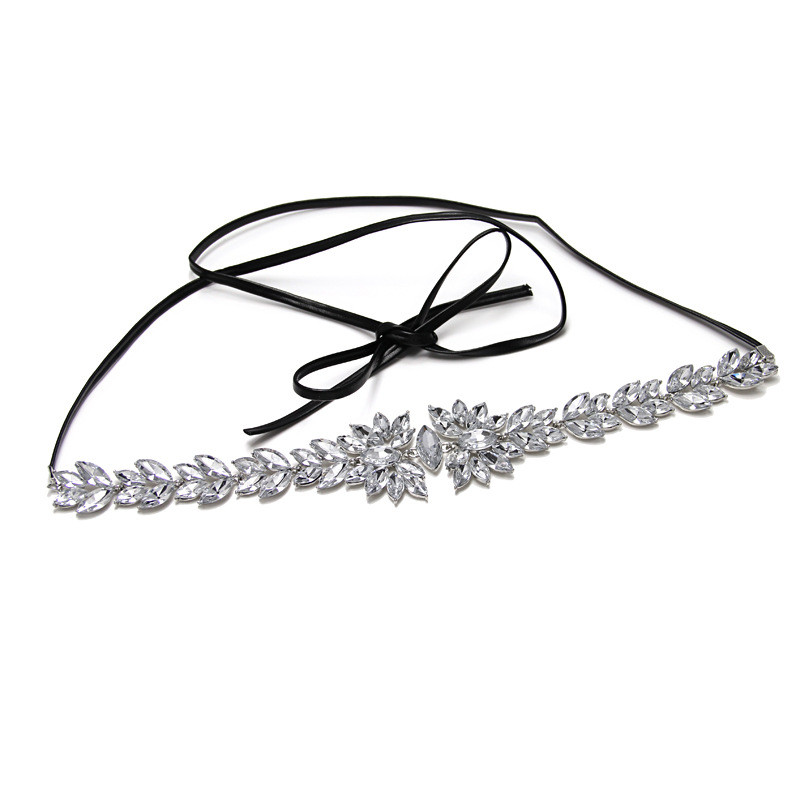 New Fashion Crystal Choker Necklace Pendant Long Leather Rope