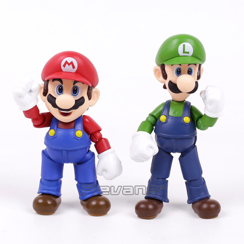 SHF SHFiguarts Super Mario Bros Mario / Luigi PVC Action Figure Collectible Model Toy Brinquedos fallout vault boy bobble head pvc action figure collectible model toy brinquedos 7 styles