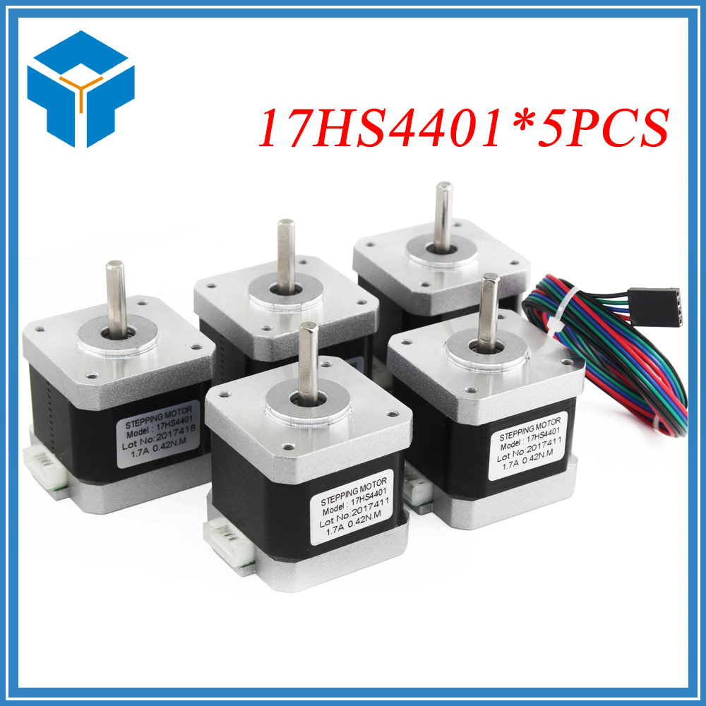 5pcs/lot 4-lead Nema17 Stepper Motor 42 motor NEMA 17 motor 42BYGH 1.7A (17HS4401) use for 3D printer and CNC