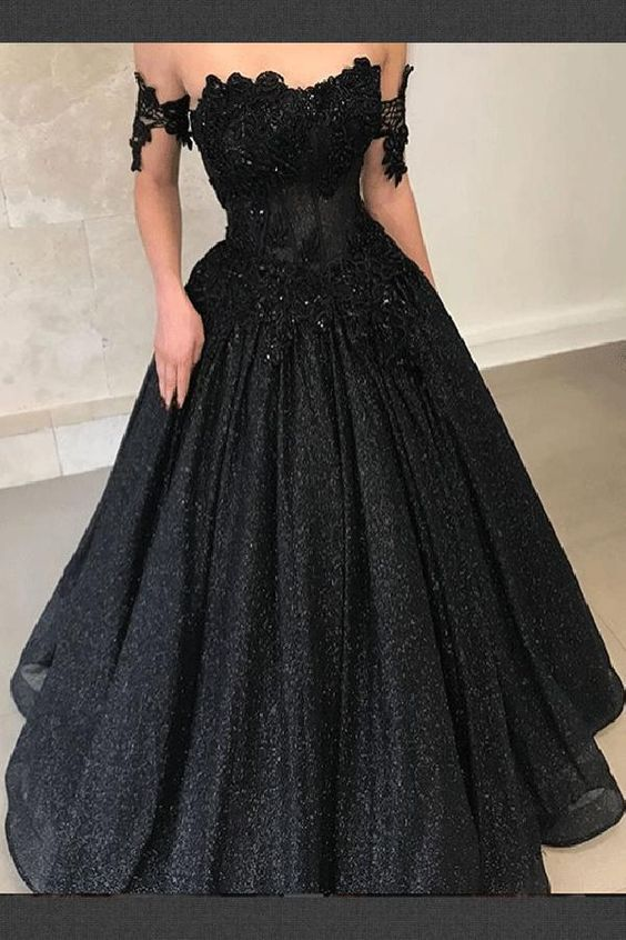 New Elegant Off the Shoulder A Line Black Evening Gowns Appliques Long Prom Dresses Custom Made