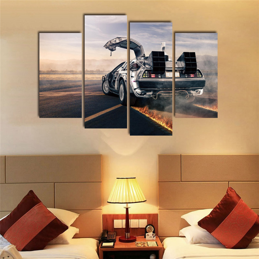 Sports Car Cuadros Decoracion Canvas Printings Wall Quadro For Living Room Morden Art 4 Panel Paintings Cool Gift In Painting Calligraphy From