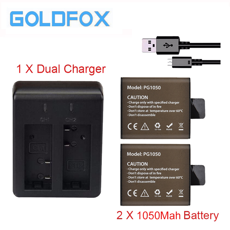 GOLDFOX 2pcs 1050mAh Sport Action Camera Battery For EKEN H9 H9R H3 H3R H8 H8R for SJCAM SJ4000 SJ5000 Sport Cam + Dual Charger