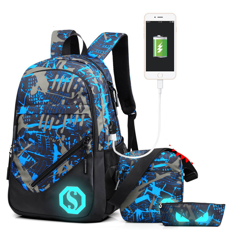 Luxury USB Charge Backpack Fashion Youth Black Luminous Back Pack School Bags Notebook Vintage Mochila Purse