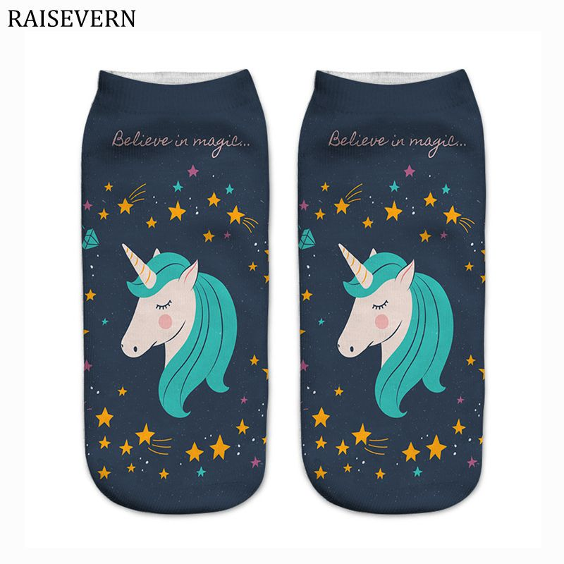 2018 Men Socks Unicorn Stars Harajuku Cotton 3D Print Men Kawaii Calcetines Femme Mujer Summer Funny Ankle Socks for Men Unisex