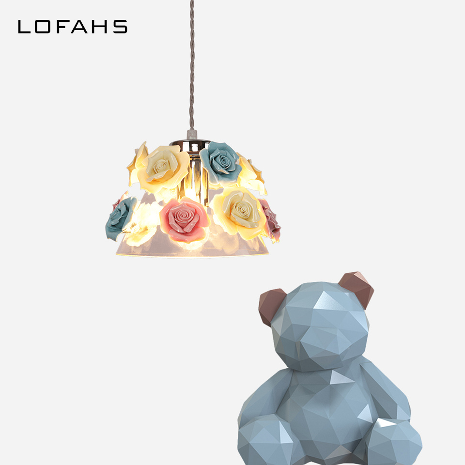 Modern Pendant Lights Exquisite glass with ceramic flowers creative hanging lamps bar living room dining room restaurant LY1865 creative design modern led colorful glass stone pendant lights lamps for dining room living room bar glass lights