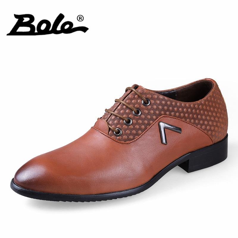 BOLE New Arrival Quality Lace Up Genuine Leather font b Shoes b font font b Men