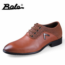 BOLE New Arrival Quality Lace Up Genuine Leather Shoes Men Large Size 36-50 Men Dressing Shoes Business Men Pointed Head Shoes