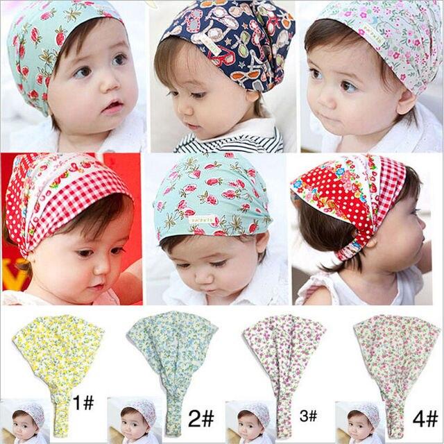 Chapeaux Bandana pour petite fille | Couvre-chef, 4 couleurs, bandeau fleuri, pour nouveau-né, accessoires pour cheveux, 2017