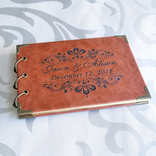 Персонализированная Свадебная Гостевая книга формата А5 рустикальный подарок на свадьбу Свадебная книга для приема на заказ кожаная Гостевая книга