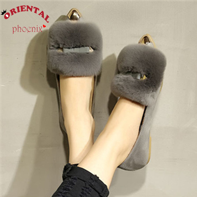 Новые Зимние Женщины Квартиры Обувь Настоящее Мех Кролика Обувь Женщина Мода Утолщение Теплые Тапочки для женщин Обувь Повседневная Мокасины 43