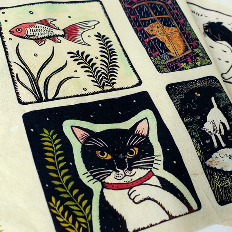 50x120cm Cotton Linen Fabric Positioning Printed Cat and Fish DIY Upholstery Material M06