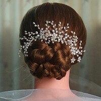 3ピース豪華な手作り大アイボリー花パールウェディングヘアくしヘアピン花嫁介添人ヘアアクセサリーブライダルヘア
