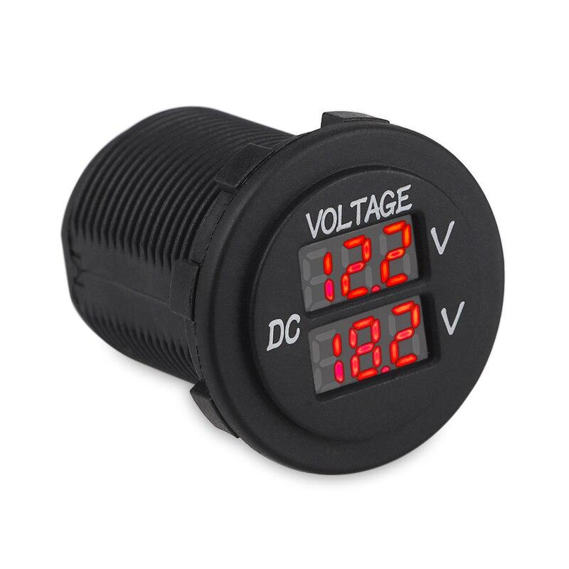 MASO Car Motorcycle DC 12-24V Dual LED Digital Round Panel Voltmeter Ammeter Amp Volt Meter Guage Green