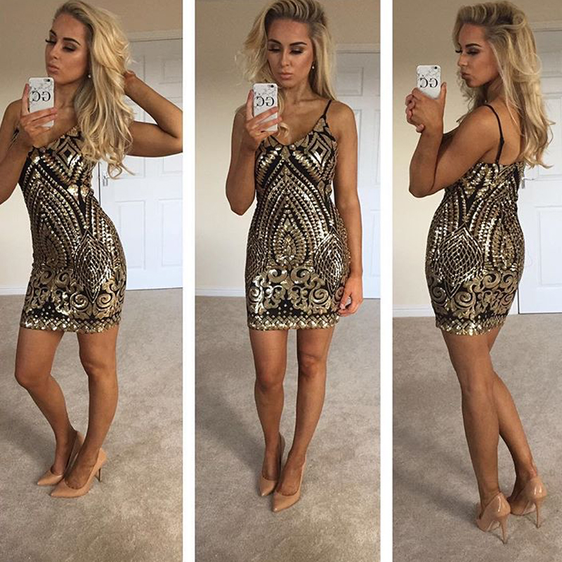 Sexy Gold Sequined Night Club Dress Party Dress Low Cut Mini Dresses Sleeveless Sequins 2019 Summer