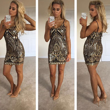 Sexy Gold Sequined Night Club Dress Party Dress Low Cut Mini Dresses Sleeveless Sequins 2019 Summer(China)