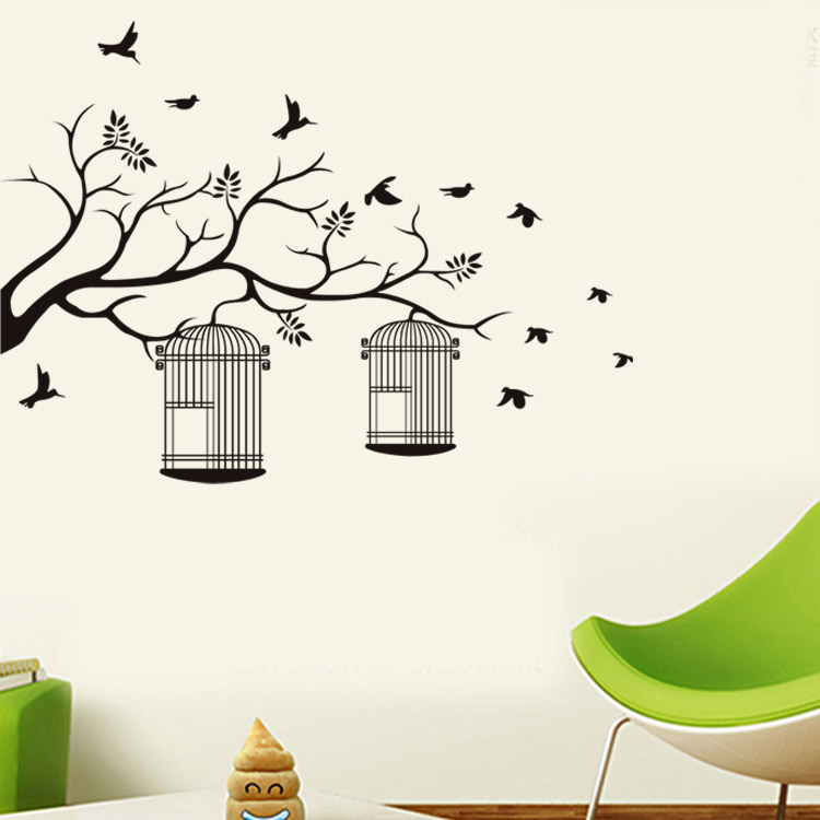 Birdcage On Tree Branch Birds Wall Sticker Wall Art Decorative ...