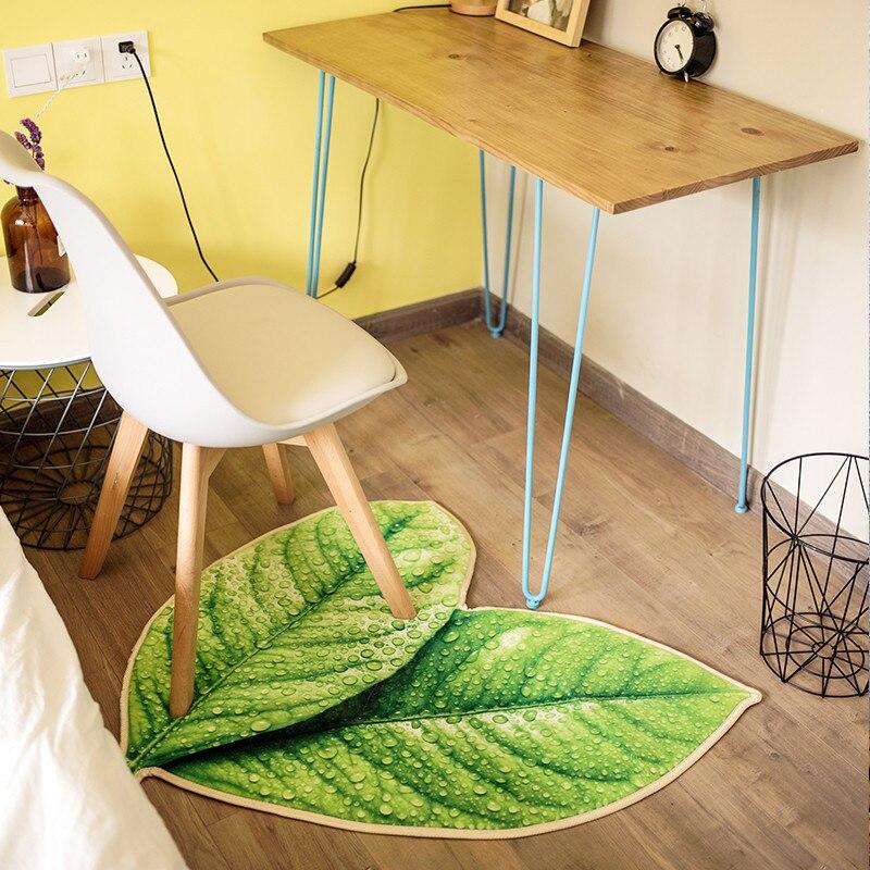 Creative vert feuilles tapis personnalité épais salon tapis bain cuisine canapé doux tapis enfants jouer tapis décoration pad