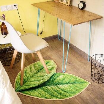 creative green leaves mat personality thick livingroom carpet bath kitchen sofa soft rug children play mat decoration pad