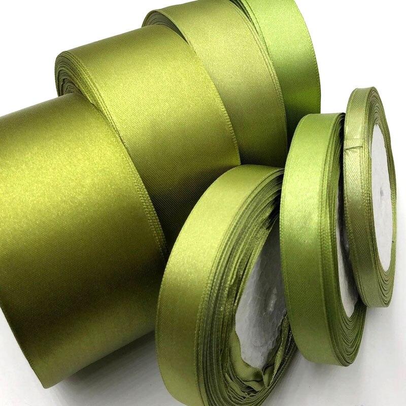 6 мм 10 мм 15 мм 20 мм 25 мм 38 мм 50 мм (1 рулон 25yds) O-зеленый шелковый Атласная Лента Свадебная вечеринка украшения пригласительный билет подарочная упаковка 52