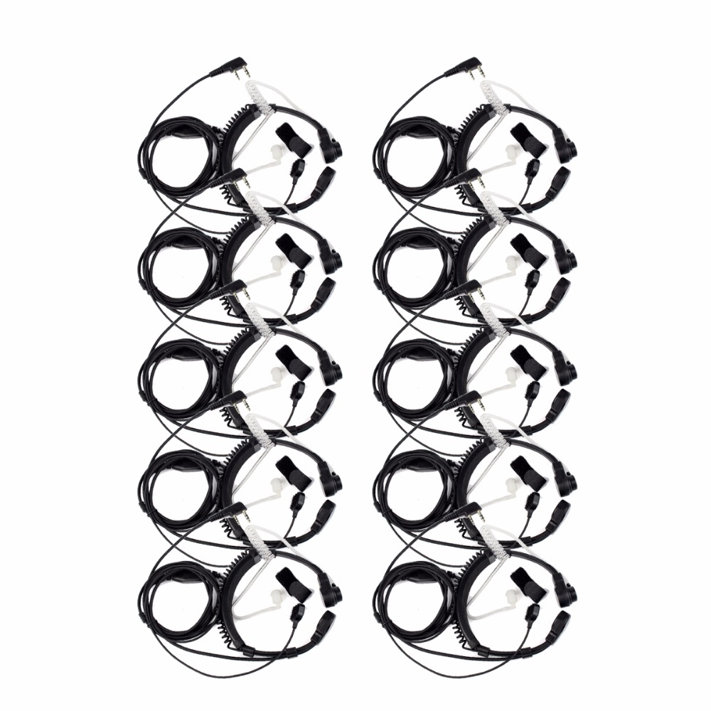 10pcs 2 Pin Throat Walkie Talkie Accessories Headset For Baofeng UV5R Retevis H777 RT5R For Kenwood For TYT Two Way Radio C9026A10pcs 2 Pin Throat Walkie Talkie Accessories Headset For Baofeng UV5R Retevis H777 RT5R For Kenwood For TYT Two Way Radio C9026A