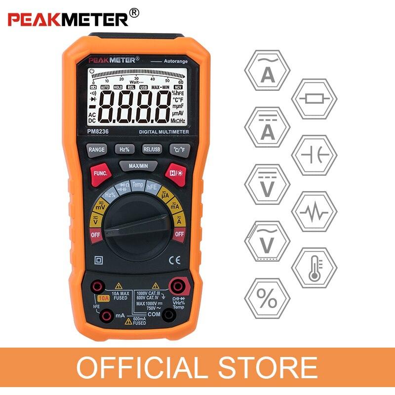 Oficial peakmeter pm8236 escala manual automático multímetro digital com teste de frequência de capacitância temperatura trms 1000 v