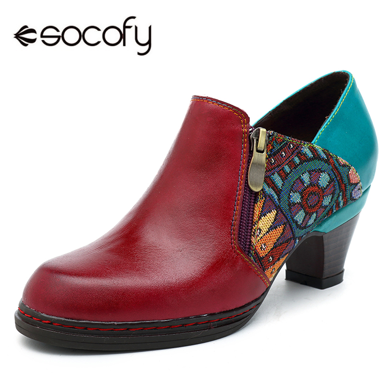 все цены на Socofy Vintage Heels Women Shoes Genuine Leather Pumps Retro Bohemian Patchwork Side Zipper Spring Fall Ankle Pumps Botas Mujer