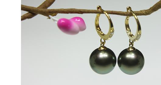 Charmante paire de 10-11tahitienne ronde noir vert perle dangle boucle doreille 18 kCharmante paire de 10-11tahitienne ronde noir vert perle dangle boucle doreille 18 k