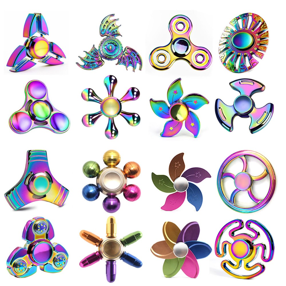 Fidget Spinner Rainbow Metal Spiner Colorful Hand Tri-Spinner Gyro for Anxiety Stress Adult Child Funny Ball Flower Round Wheel  50pcsnew pattern colorful hand tri spinner fidgets toy torqbar alloy edc sensory fidget spinners for autism and kids adult funny