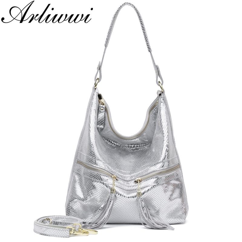 Arliwwi Brand Shiny Snake Pattern Embossed 100 Genuine Leather Female Shoulder Handbags Large Capacity Women Bags