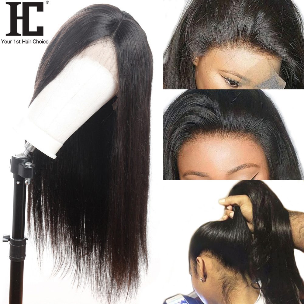 HC Brazilian Straight 360 Lace Frontal Wig Pre Plucked With Baby Hair Remy 360 Human Hair Wigs For Black Women 150% Density