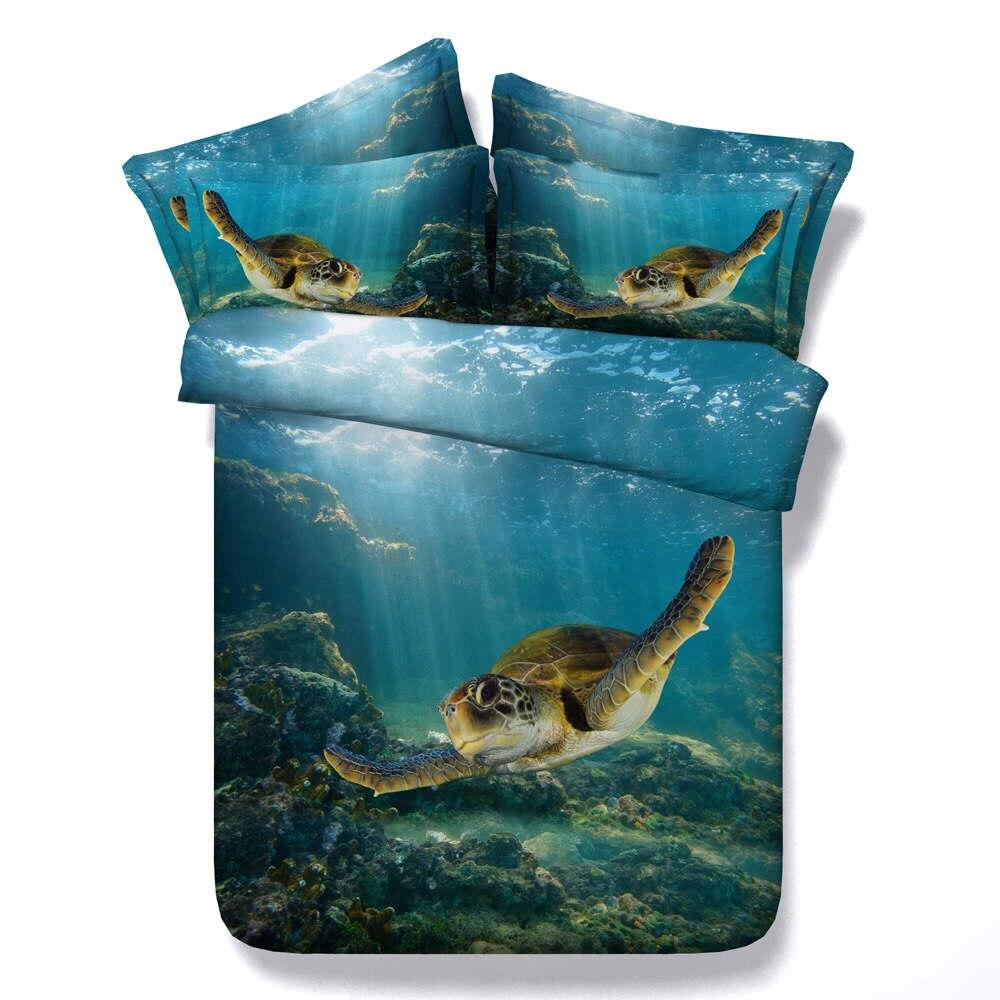 ใต้ทะเลสีฟ้าเต่าชุดเครื่องนอน queen king twin ขนาด 3d ภาพวาดสีน้ำมัน ocean ผ้านวม 3/4pc pillowsham เด็ก-ใน ชุดเครื่องนอน จาก บ้านและสวน บน   1