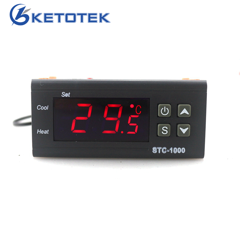 STC-1000 Thermostat for Incubator Digital Temperature Regulator Controller Two Relay Output with 1m Sensor 110~220VAC 12V 24V10A