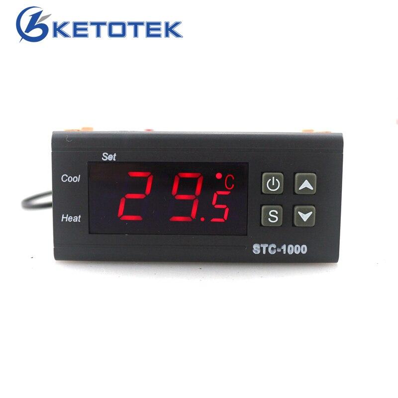 STC-Termostato per Incubatrice Digitale Regolatore di Temperatura Controller Due Relè di Uscita con 1 m Sensore 110 ~ 220VAC 12 V 24V10A