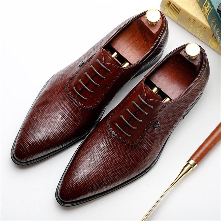 Men dress shoes Genuine cow leather brogue Wedding shoes mens casual flats shoes black burgundy oxford