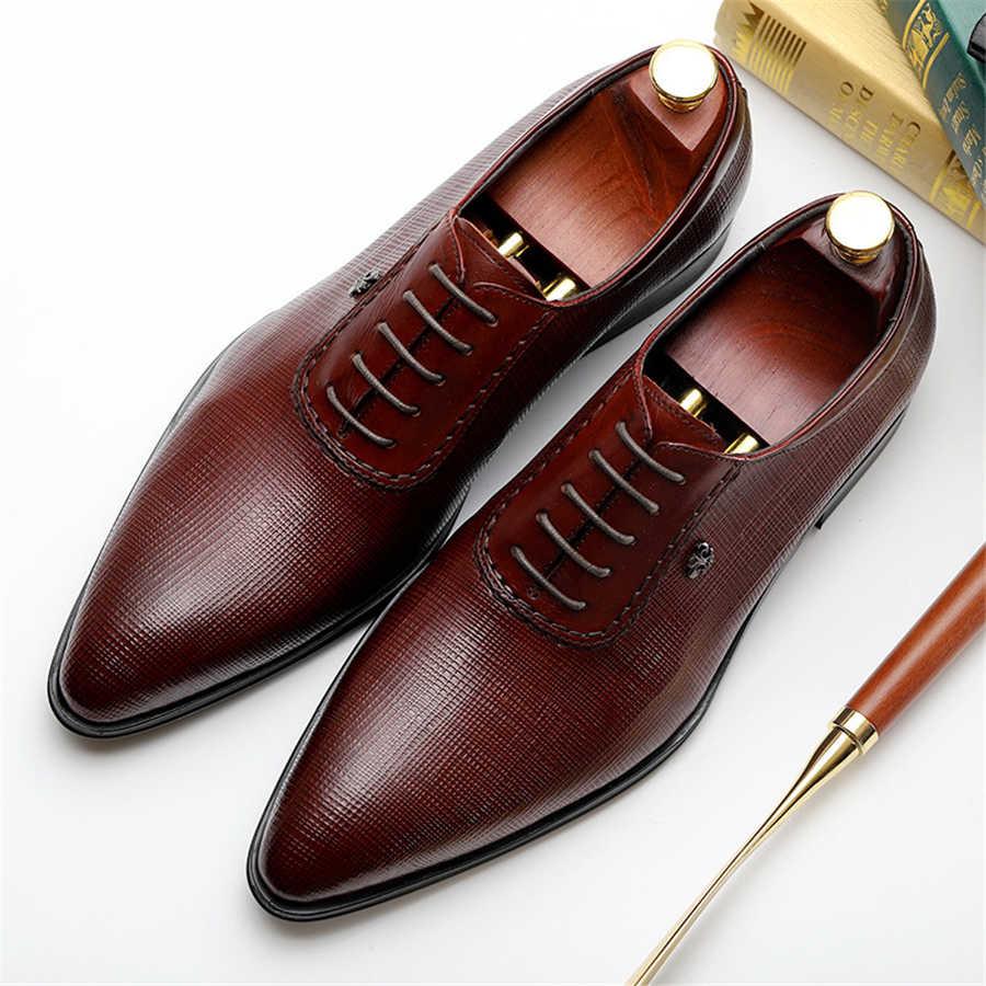 Men dress shoes Genuine cow leather