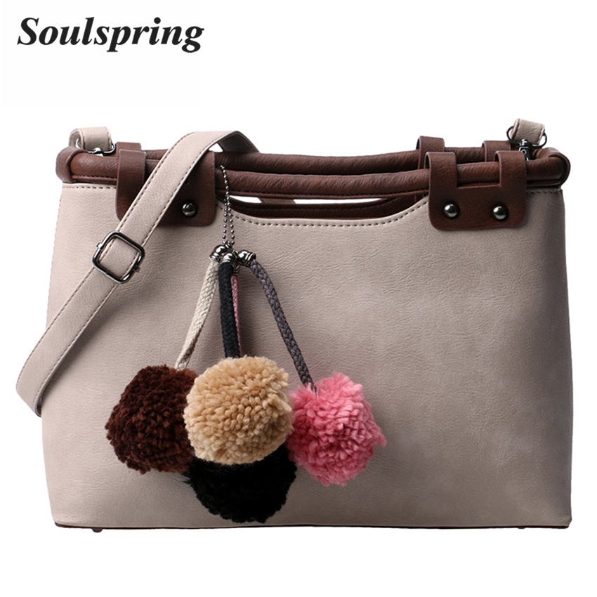 Fashion Fur Tote Bag Women Luxury Handbags Women Bags Designer Rivet Crossbody Bag Colorful Hair Ball Ladies Hand Bags Sac A Dos недорого