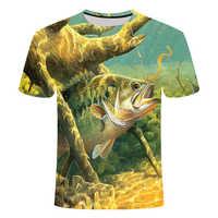 2019 nueva camiseta de pesca con impresión 3D de ocio digital hd para hombre, camiseta de pesca, Camiseta con cuello redondo, camiseta interesante para peces