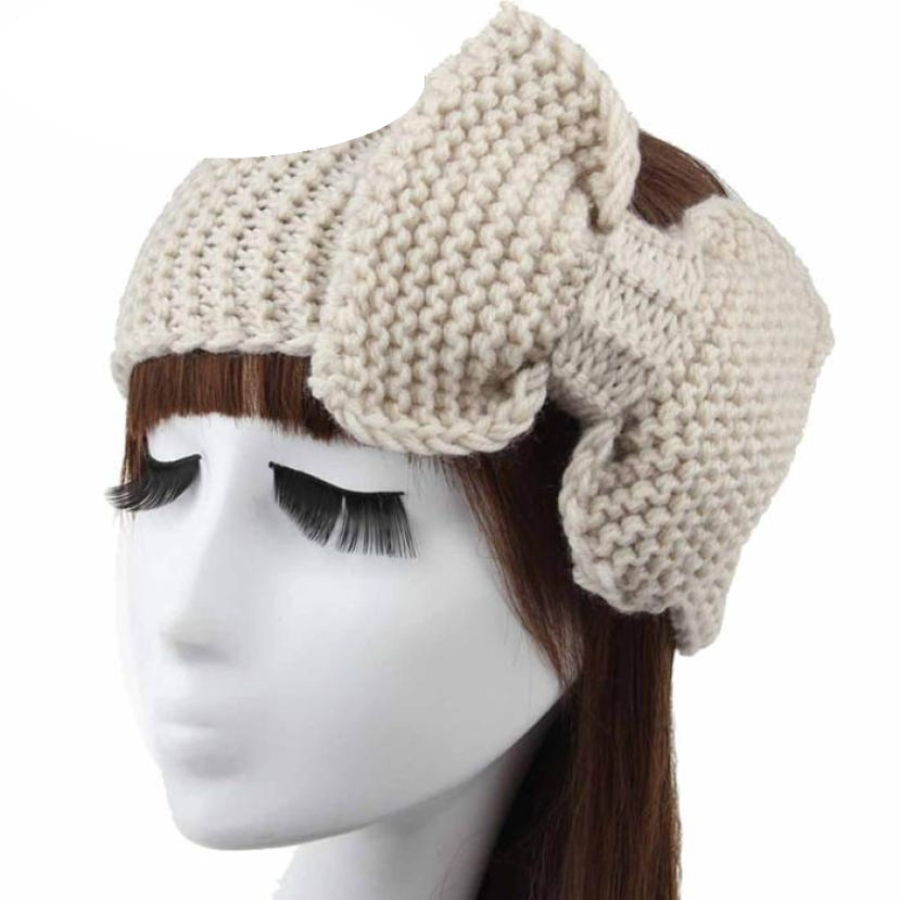 Hot marking New Women Crochet Headband Bow Knit Winter Headwrap Ear Warmer Hairband Fashion D1217 Drop Shipping