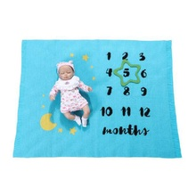 Acrylic Baby Growth Month Commemorate Cartoon Blanket Knitting Milestone Comfort