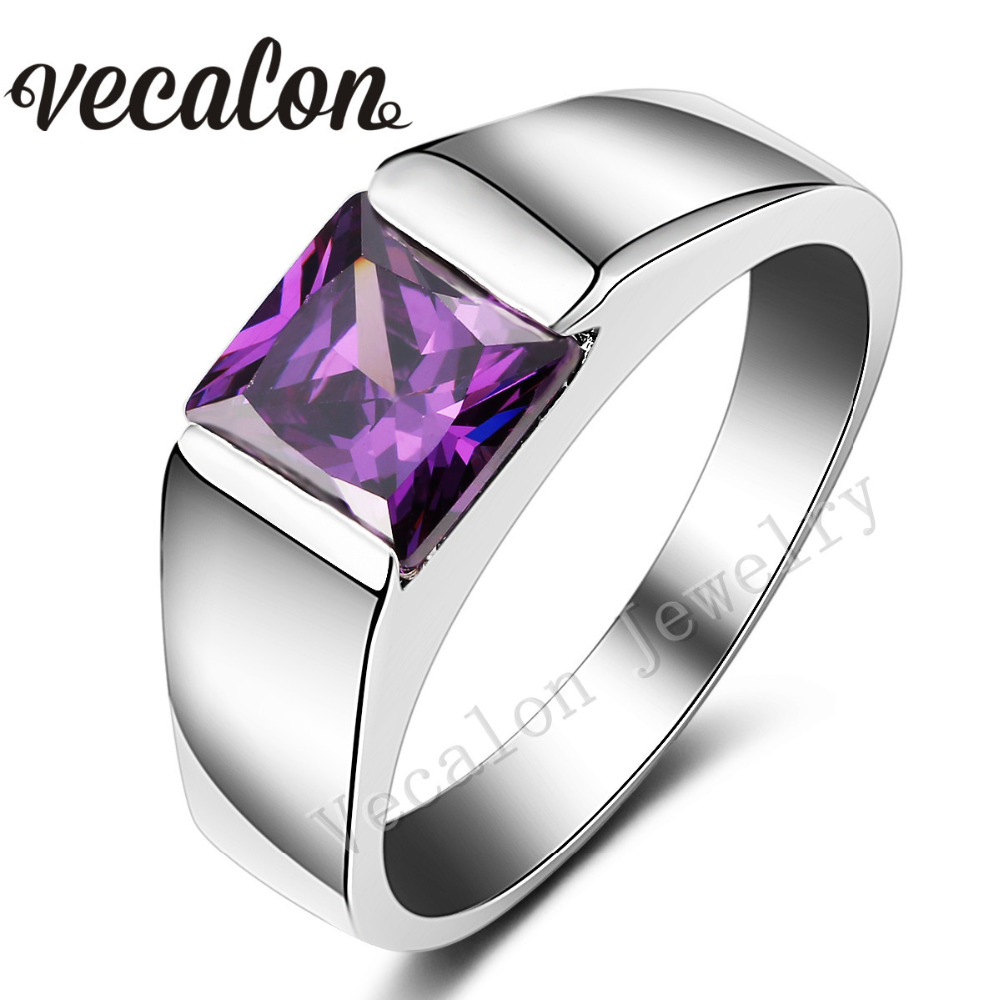 Vecalon Male Jewelry Princess Cut 4ct purple Cz 925 Sterling Silver ...