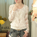2016 White Blusas Women Fashion Long Sleeve Lace Blouse Spring Autumn Women Plus Size Clothes Crochet Tops Chiffon Shirt A722