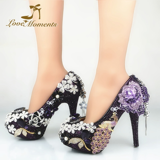 686c72d5d0ee Gorgeous Purple Phoenix and Flower Rhinestone Wedding Shoes Craftsman  Banquet Party High Heels Dark Purple Crystal