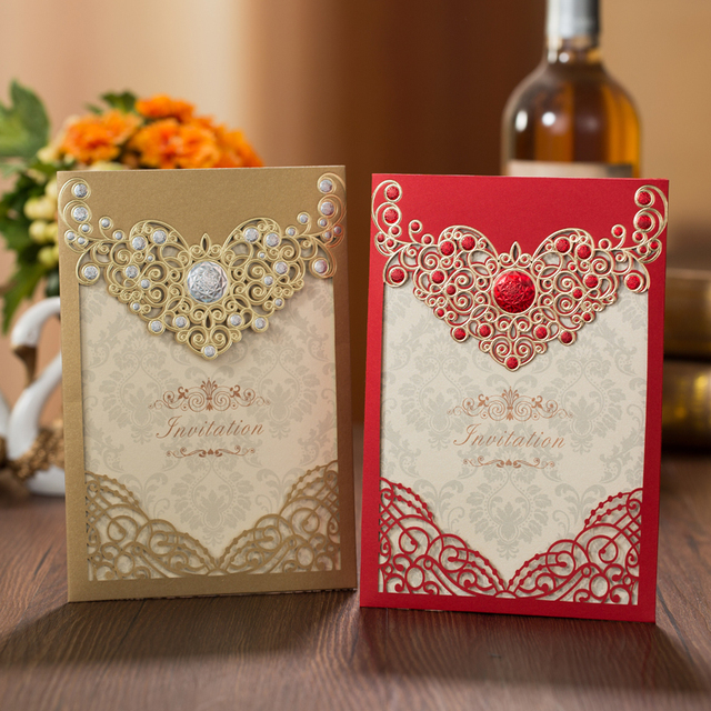 50pcs Red Gold Laser Cut Crown Flora Wedding Invitations Card Greeting Cards Customize Wedding Decoration Event Party Supplies