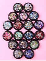 12 tipi 3D arte del chiodo del diamante Paillettes spogliatoio Grande trapano fondo Pianura naso chiodo del chiodo decorazione di strass per le unghie