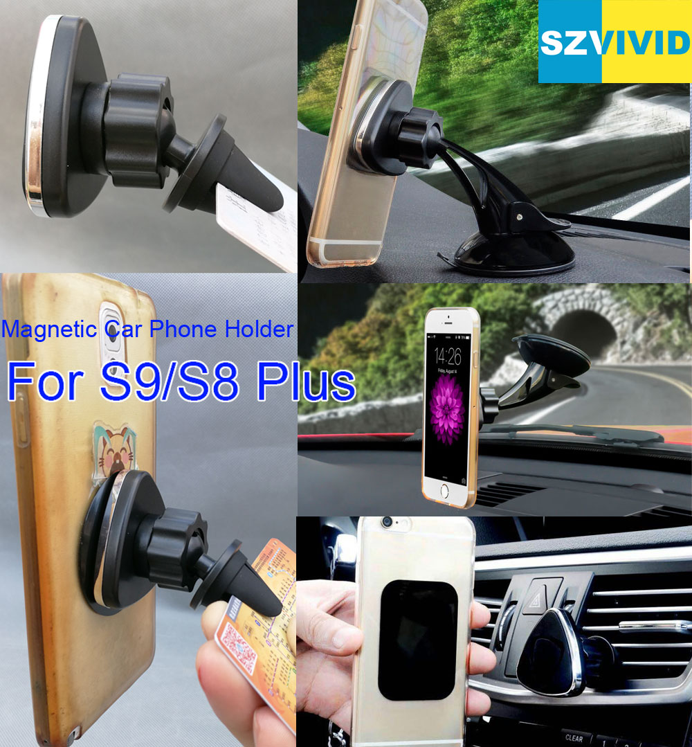 Magnetic Car Phone Holder Air Vent Outlet Mount For Samsung Galaxy S9 Plus S8 S7 S6 Edge Note 8 Magnet Dashboard Windshield