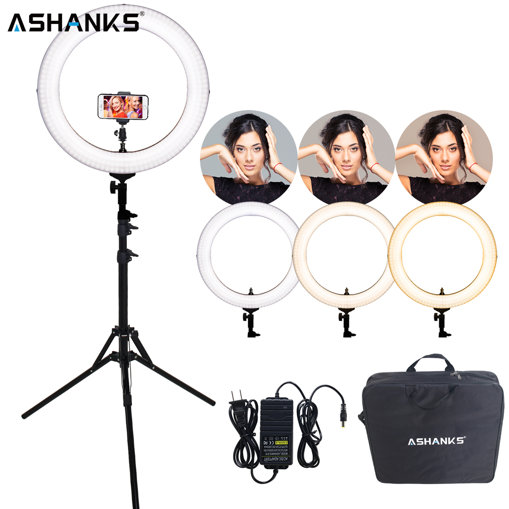18inch Dimmer Ring light with Stand Photography 55W LED Circular Selfie Lamp Bulb with Bag for Photo Video Phone Youtube Makeup