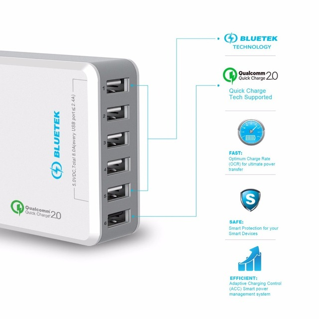 TeckNet [Qualcomm Certified] 51W 6 Ports quick charger QC 2.0 Desktop USB Charging Station Wall Charger For Apple iPhone, iPad
